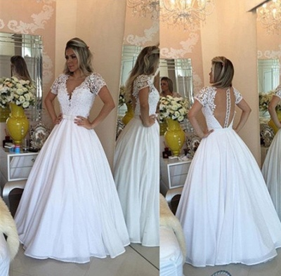 Sheer Bowknot Short-Sleeves Lace Crystal V-Neck White Prom Dress_3