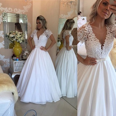 Sheer Bowknot Short-Sleeves Lace Crystal V-Neck White Prom Dress_4