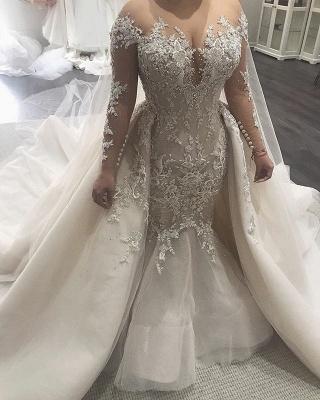 Elegant Lace Appliques Tulle Overskirt Mermaid Wedding Dresses_3