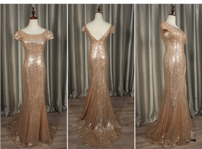 Sequins Mermaid Long Prom Dresses Cap Sleeves Backless Evening Gowns_5
