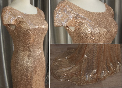 Sequins Mermaid Long Prom Dresses Cap Sleeves Backless Evening Gowns_4