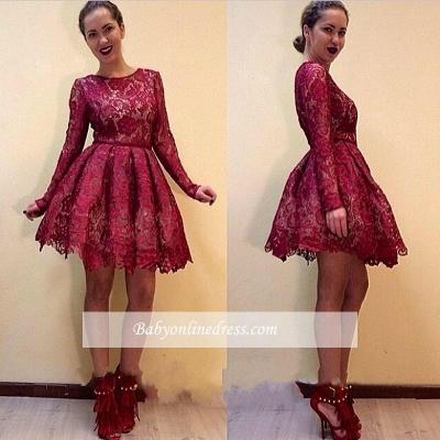 Elegant A-line Long Sleeves Short Burgundy Lace Homecoming Dresses_1