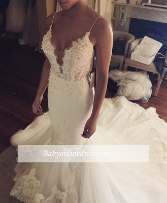 Spaghetti Straps Sexy Mermaid Wedding Dress | Appliques Tulle Bridal Gowns_1