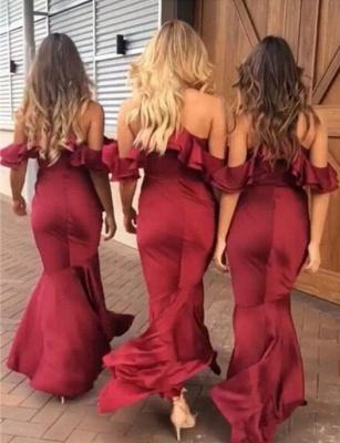 Sexy High-Low Mermaid Bridesmaid Dresses | Simple Spaghetti Straps Ruffles Wedding Party Dresses_4