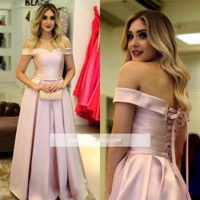 Elegant Off-The-Shoulder Pink A-Line Prom Dresses_4