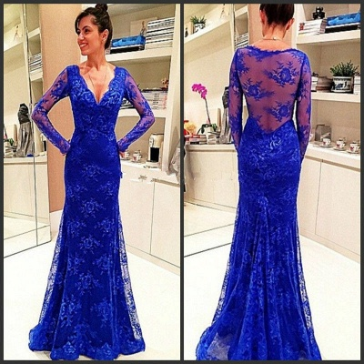 Elegant Long-Sleeve Royal-Blue Evening Gowns Lace Prom Dress_2