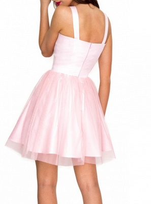 Chic Pink Tulle Short Homecoming Dresses | Straps A-Line Mini Cocktail Dresses_3
