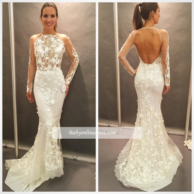 Appliques Lace Open Back Glamorous Mermaid Wedding Dresses with  Long Sleeves_1