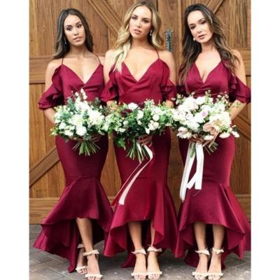 Sexy High-Low Mermaid Bridesmaid Dresses | Simple Spaghetti Straps Ruffles Wedding Party Dresses_3