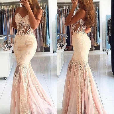 Stunning Appliques Mermaid Long Sweetheart Lace Prom Dress_3