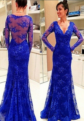 Elegant Long-Sleeve Royal-Blue Evening Gowns Lace Prom Dress_3