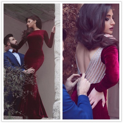 Sexy Burgundy Long Sleeve Mermaid Evening Gowns Long Prom Dresses_3