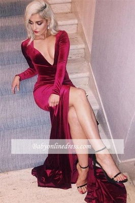 2018 Deep-V-Neck Sexy Side-Slit Velvet Long-Sleeves Prom Dress_2