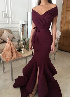 Chic Burgundy Mermaid Prom Dresses Off-the-Shoulder Ruched Side Slit Evening Gowns_1