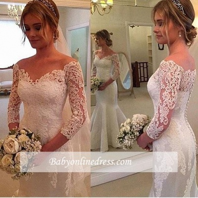 Off-the-shoulder Mermaid 3/4 Sleeves Wedding Dress with Buttons_1
