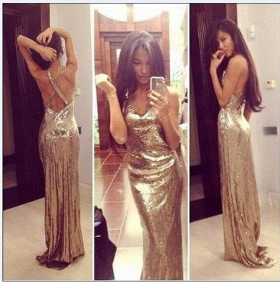 Sexy V-Neck Sequined Sheath Prom Dresses Backless Sweep Train Evening Gowns_3