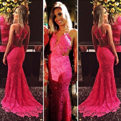 Sexy Mermaid Red Lace Evening Gowns Open-Back Sleeveless Prom Dresses_3