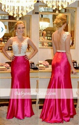 Sleeveless Sexy Sheer Appliques Tulle Sheath Beadings Prom Dresses_3
