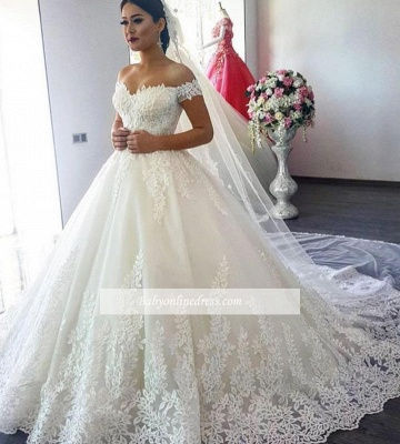 Gorgeous Ball Gown Wedding Dresses | Off-the-Shoulder Lace Appliques Bridal Gowns_1