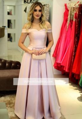 Elegant Off-The-Shoulder Pink A-Line Prom Dresses_3