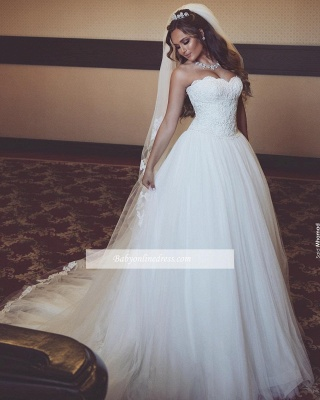 Gorgeous Sleeveless Tulle Bridal Gowns Long Lace Sweetheart Wedding Dresses_1