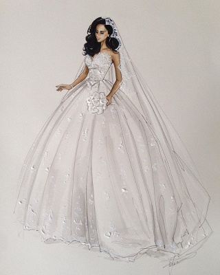 Gorgeous Sweetheart Lace Appliques Ball Gown Wedding Dress_5