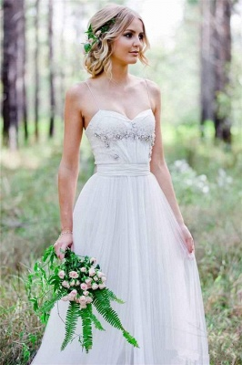 Cheap Simple A-Line Spaghetti Straps Tulle Wedding Dress with Beadings_3