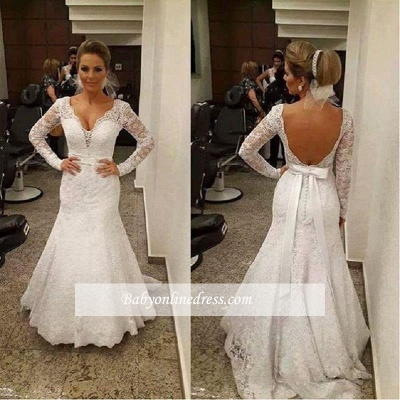 Sashes Backless V-neck Mermaid Lace Sexy Wedding Dresses with Long Sleeves_1