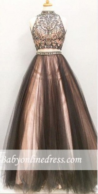 Glamorous Tulle Two-Pieces A-Line Prom Dress Crystal Sleeveless Evening Gowns_3