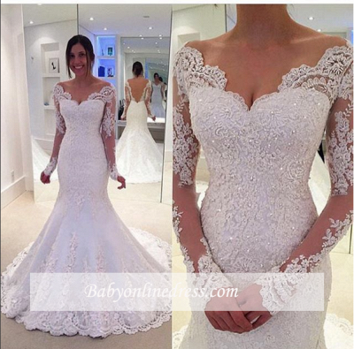 Off-the-Shoulder Lace Sleeves Long Elegant Fit and Flare Wedding Dresses_1