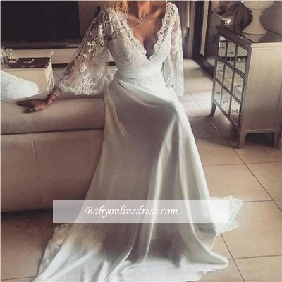 Lace A-Line V-Neck Long Sexy Wedding Dresses_1