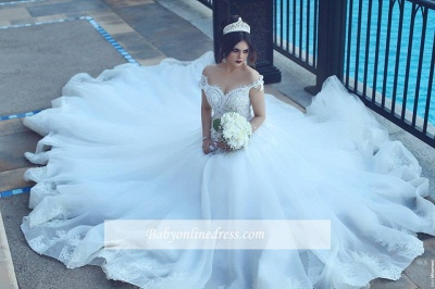 Vintage Off-the-Shoulder Wedding Dresses Crystal Tulle Ball Appliques Bridal Gowns_1