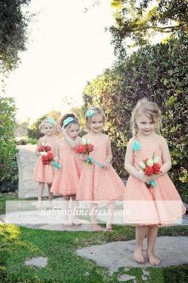 Modern White Illusion Sleeveless Lace Knee length A-line Flower-Girl Dress_1