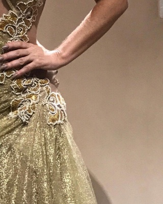 Shiny Gold Mermaid Evening Gowns | One Sleeves Beading Ruched Prom Dresses_4