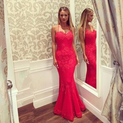 Sweetheart Spaghetti Floor-length Appliques Mermaid Prom Dresses_3