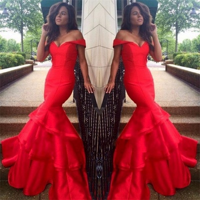 Red Mermaid Prom Dresses Off the Shoulder Tiers Ruffles Train Sexy Formal Evening Gowns_3