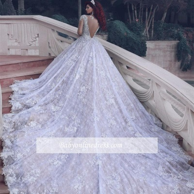 Luxury Lace Ball Gown Wedding Dresses | Cathedral Train Beading Bridal Gowns_1