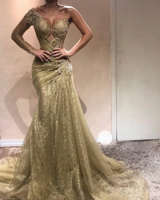 Shiny Gold Mermaid Evening Gowns | One Sleeves Beading Ruched Prom Dresses_3