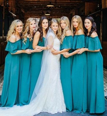 Elegant Hunter Off Chiffon Wedding Elegant Shoulder Long Party Green Bridesmaid Dress_3