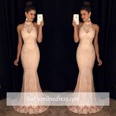 Sweep-Train High-Neck Lace Mermaid Elegant Sleeveless Prom Dress_1