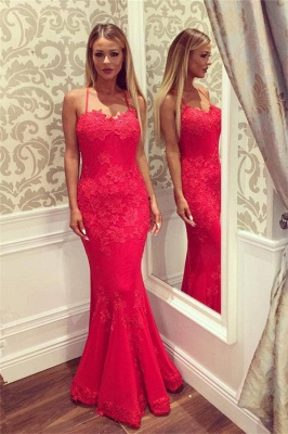 Sweetheart Spaghetti Floor-length Appliques Mermaid Prom Dresses_1