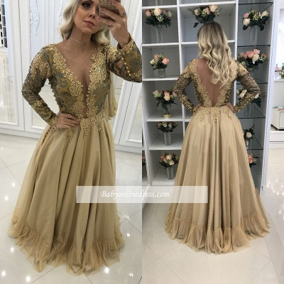 V-Neck Floor-Length Lace Sleeves Long Chic Prom Dresses_1