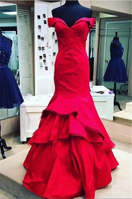 Red Mermaid Prom Dresses Off the Shoulder Tiers Ruffles Train Sexy Formal Evening Gowns_4