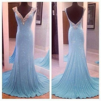Sky Blue Prom Dresses V Neck Crystals Shiny Fabric Amazing Mermaid Evening Gowns_3