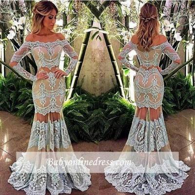 2018 Off-Shoulder Long Sleeve Sheer-Skirt Mermaid Lace Prom Dress BA4074_1