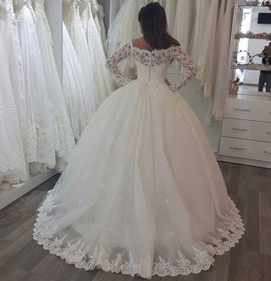 Luxury Lace Ball Gown Wedding Dresses | Off-The-Shoulder Long Sleeves Tulle Bridal Gowns_4