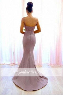 Sexy Lace Sleeveless Bridesmaid Dresses | Spaghetti-Straps Mermaid Evening Dress_1