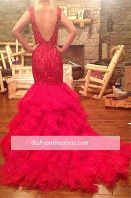 Red Mermaid Tiered V-Neck Prom Dress 2018 Sleeveless Evening Gowns with Beadings_3
