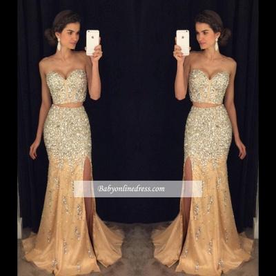 2018 Luxury Mermaid Side-Slit Two-Pieces Sweetheart Crystal Prom Dress_1