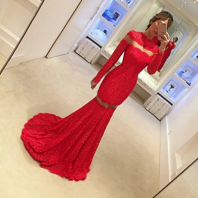 2018 Sexy Mermaid Lace Prom Dress Long Sleeve Red Sweep Train Evening Gowns_3